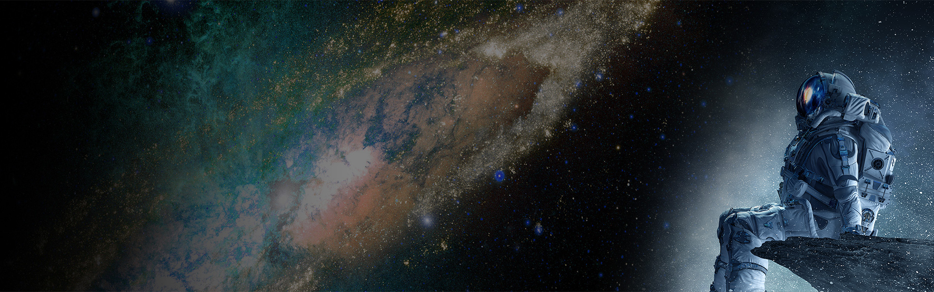 Man in spacesuit looking at milky way